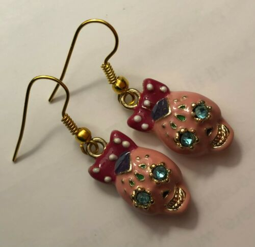 Betsey Johnson Earrings Day of the Dead Pink Enamel Bow Blue Crystal Eyes