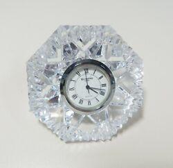 WATERFORD CRYSTAL LISMORE DIAMOND CUT MANTLE PAPERWEIGHT CLOCK