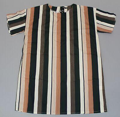 Boohoo Women's Plus Tonal Stripe Short Sleeve Dress CS9 Green/Brown US:14 UK:18