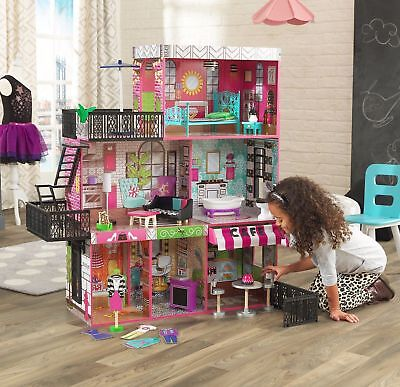 Barbie Estimate Dollhouse Furniture Girls Playhouse Dream Play Wooden Doll House NEW