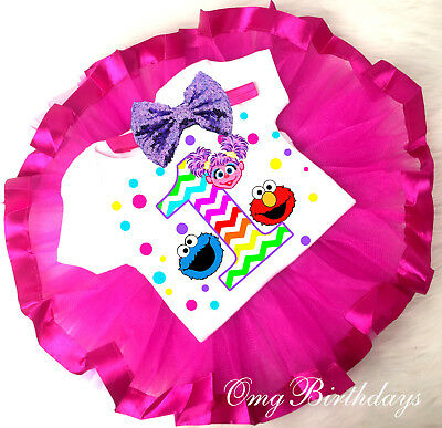 Elmo Abby Cadabby Cookie Monster Tutu Shirt Headband 1st Birthday Girl Outfit