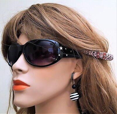 Girls Woman Fashion Eye wear Black Sunglasses multi stars  100% UV (#545)