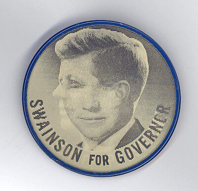 "Fantastic ~ "" KENNEDY FOR PRESIDENT / SWAINSON FOR GOV. "" ~ 1960 Flasher Button"