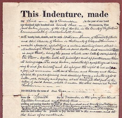 Orig  Indenture  Lease  1823  Property At 3 Marlborough St   Boston  Jacob Kuhn