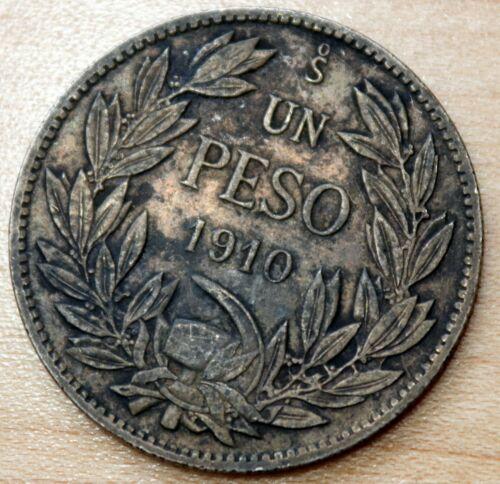 1910 Chile 1 Peso Silver
