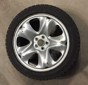 "17"" Silver steel wheels with Yokohama ice Guard winter tire"