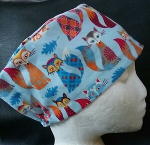FANCY FOXES theatre hat odp scrub cap medical hospital doctor surgeon vet nurse