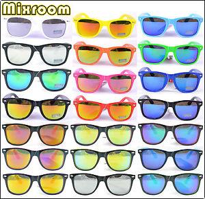 Occhiali-Da-Sole-Uomo-Donna-Nerd-Wayfarer-Vintage-Lenti-Specchio-Multicolore
