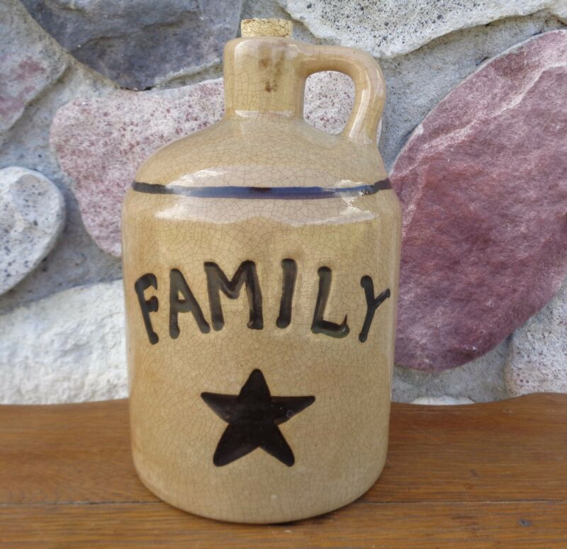 """Primitive Stoneware Jug Family with Painted Star 8"""" Country Home Decor"""