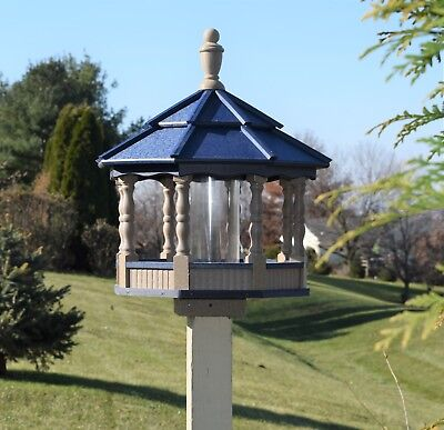 Large Gazebo Poly Bird Feeder  Spindle type Amish Handmade clay and Blue