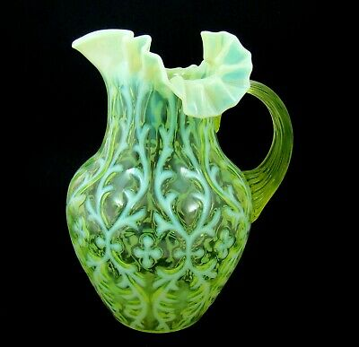 Vaseline Opalescent Glass Northwood Spanish Lace Opaline Brocade Pitcher #1