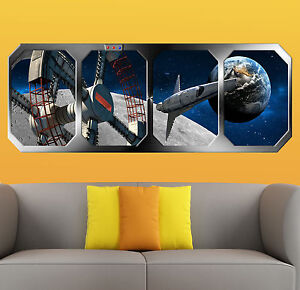 2001 a SPACE ODYSSEY   SPACE WHEEL orbiting EARTH  !!! GIANT WINDOW VIEW  POSTER