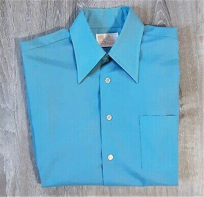 1970s Mens Shirt Styles – Vintage 70s Shirts for Guys Vintage 70s Sears Kings Road Perma Prest Disco Shirt 1970s Electric Blue Mod M $30.74 AT vintagedancer.com