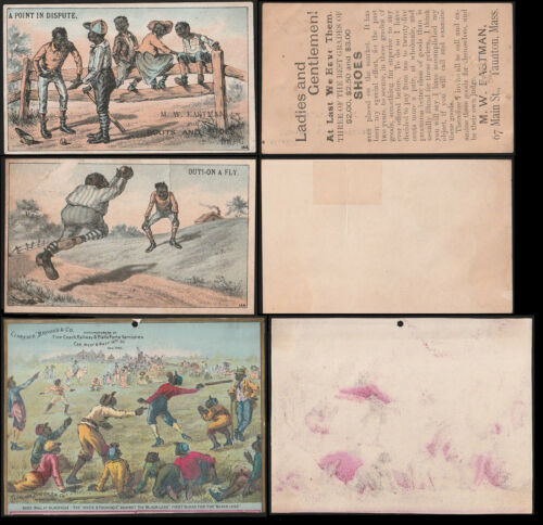 BLACK AMERICANA VICTORIAN 1880s Trade Cards (6) w/(3) Baseball INCL (2) H804-5A