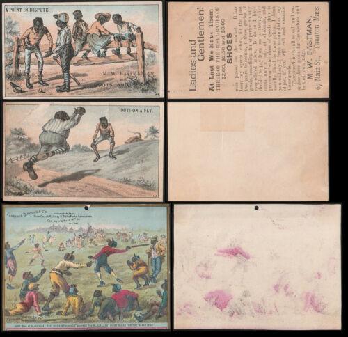 BLACK AMERICANA VICTORIAN 1880s Trade Cards (6) w/(3) Baseball INCL (2) H804-5A