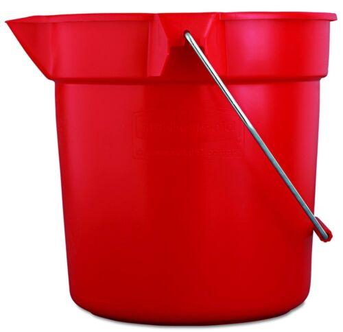 Heavy Duty RED 10 QT = 2.5 gal PLASTIC BUCKET rOund Pail w pour spout RUBBERMAID