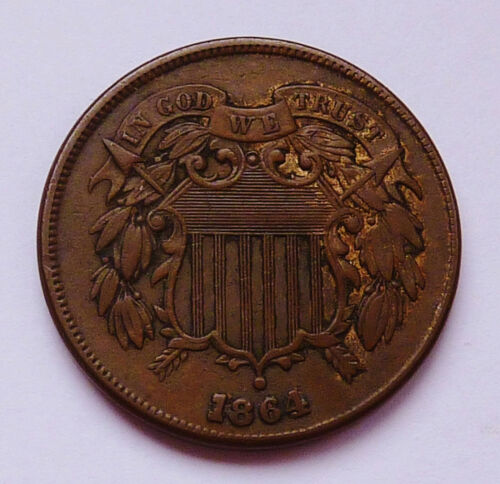 1864 U.S.TWO / 2 CENT PIECE - LARGE MOTTO VARIETY ~ EXTRA FINE CONDITION