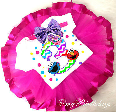 Elmo Abby Cadabby Cookie Monster Tutu Shirt Headband 3rd Birthday Girl Outfit