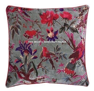 Indian Bird Floral Velvet Green Cushion Cover Pillow Case Throw Ethnic Decor