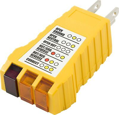 Power Gear 3 Wire Receptacle Tester Outlet Tester 6 Visual Indications Lig...
