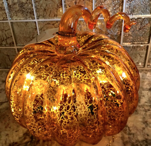 ORANGE MERCURY GLASS LED LIGHTED PUMPKIN. HALLOWEEN  THANKSGIVING HOME DECOR