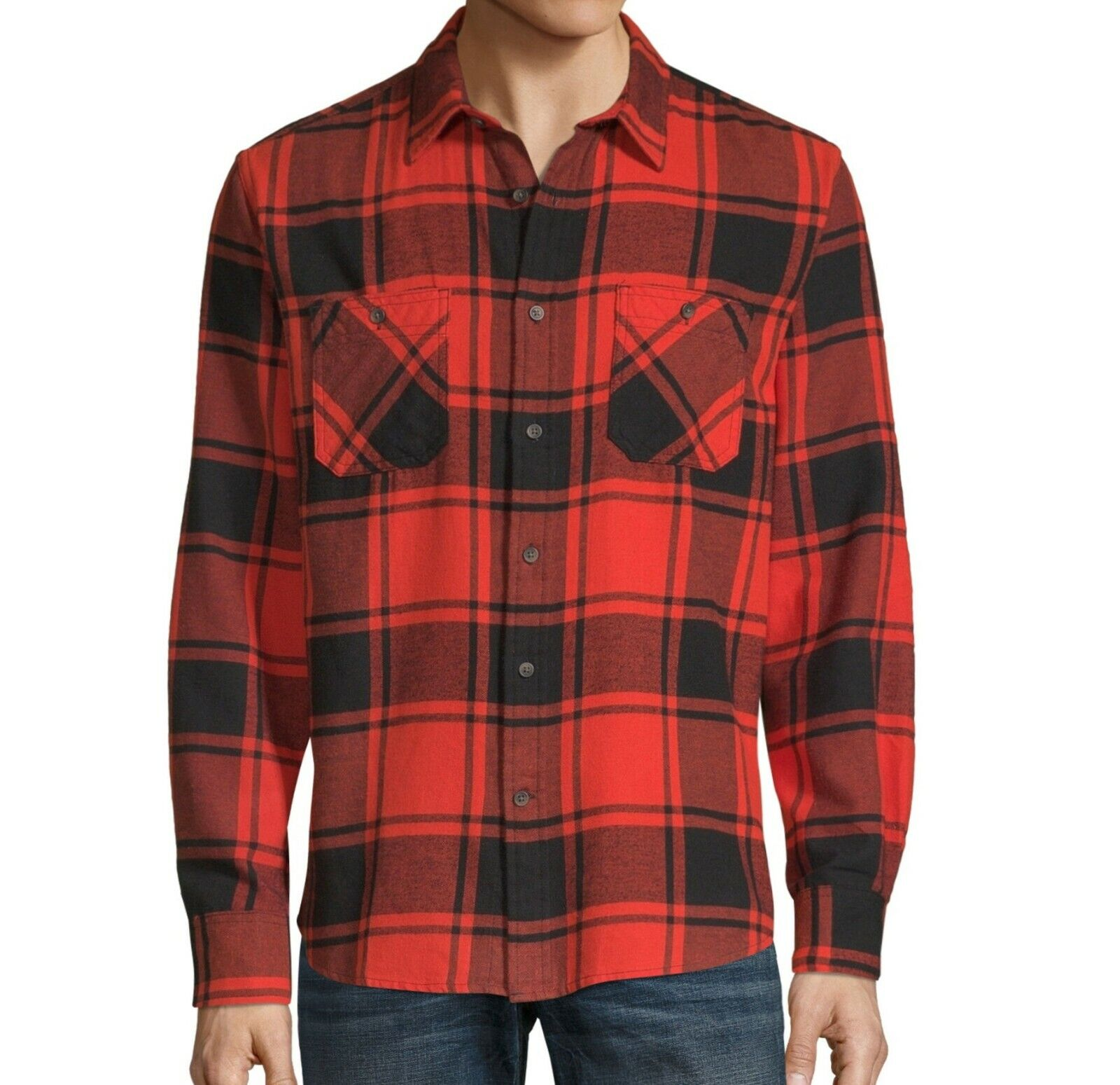 Plaid Shirt Button Up Super Soft Cotton Red Check Flannel Ar