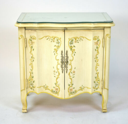 Heritage Furniture Co. Venetian Hand Painted End Table Nightstand Cabinet