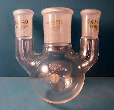 Pyrex 4955-250 3 Neck Distilling Flask With 2 2440 And 1 4050 G.g. Joint