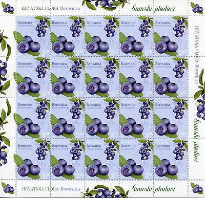 Croatia 2018 MNH Flora Bilberry Chestnut 3x 20v M/S Berries Plants Nature Stamps