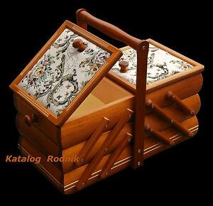 Nähkästchen aufklappbar Nähkasten Holz  Nähkorb Nähbox Schmuckkästchen 370 NEU