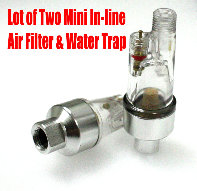 "LOT 2 Airbrush In-Line Mini Air Filter Water Trap Separator 1/8"" Fitting Spray"