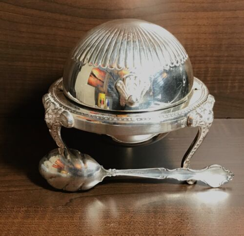 Vtg. F.B. ROGERS SILVER CO. Roll Domed Caviar, Footed Serving Bowl, W/ spoon USA