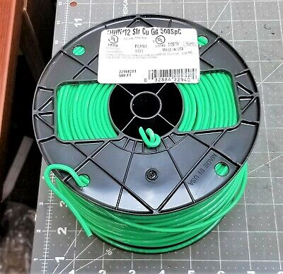 Southwire 22968201 Stranded Thhn 12 Gauge Building Wire 500-feet Green A10s5