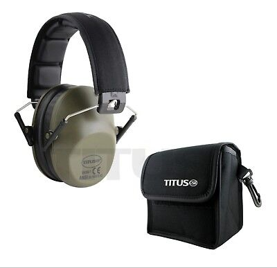 Low Profile Ear Muffs w Case 34 NRR Shooting Range Hearing Protection Drab Green