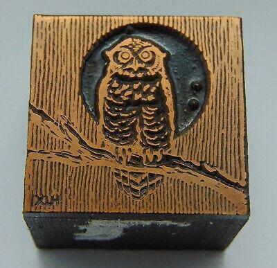 Printing Letterpress Printers Block Owl Bird On Branch With Moon 1 18 X 1 116