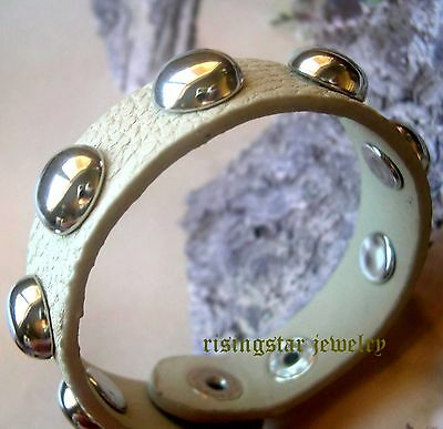 Trendy Women's Elegant Metal Stud Leather Surfer Characters Bracelet Wristband