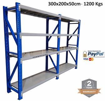3.0M x 2.0M x 0.5M Heavy Duty Metal Warehouse Garage Racking