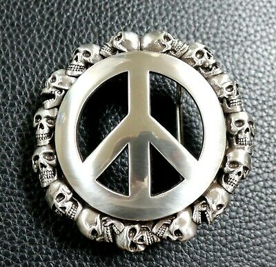 PEACE SIGN SKULL ANTIQUE SILVER ROUND 3D BELT BUCKLE NEW