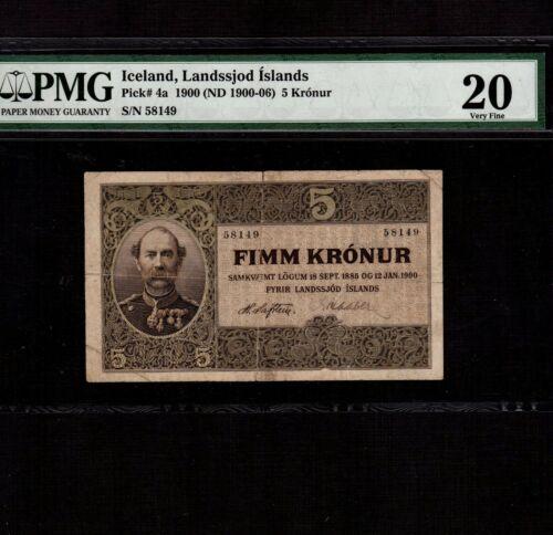 Iceland 5 Kronur 1885(1900) P-4a * PMG VF 20 * King Christian *