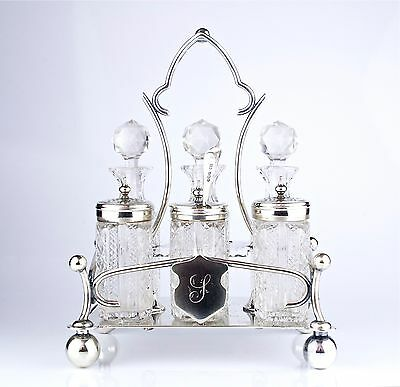 Antique 19th Century English EPN Silver & Cut Glass Cruet Set w/ Sterling Spoon