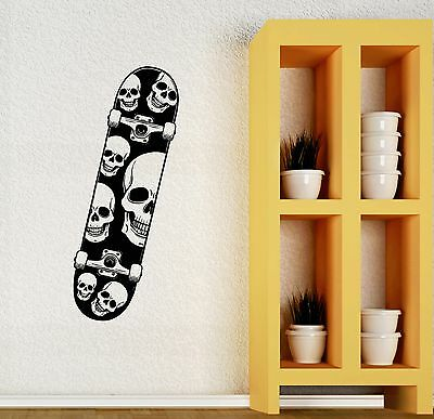 Wall Decal Skate Skull Skateboard Extreme Sports Teen Mural Vinyl Decal (Skateboard Wall Murals)