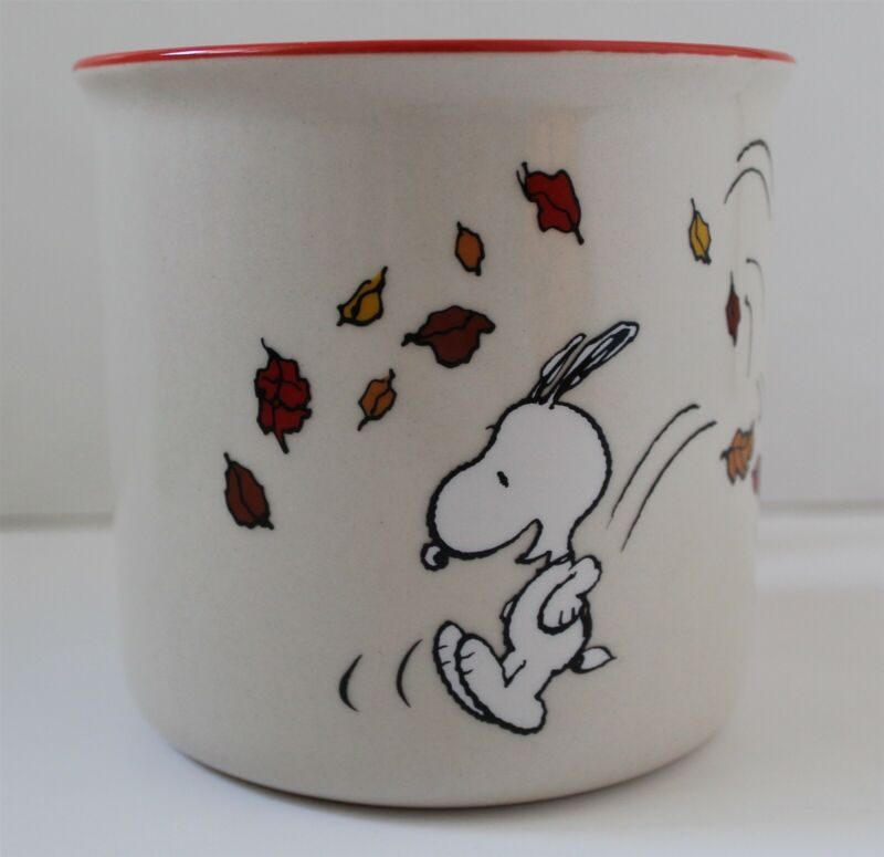 Peanuts Snoopy GIVE THANKS Thanksgiving Fall Leaves Mug Coffee Cup New