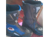 Motorcycle Boots size 6 Blue/black