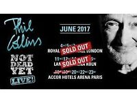 2X Phil Collins Tickets, London Wed, 07/06/2017, Arena A   Row: 8
