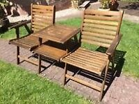 One-piece Garden Table and Two chairs in Solid Hardwood