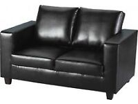 3-piece Black PU Leather: Two Seater Sofa and Two Armchairs