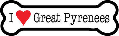 "I Heart (Love) Great Pyrenees Dog Bone Car Magnet  2""x7"" USA Made Waterproof"