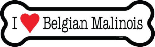 I Heart (Love) Belgian Malinois Dog Bone Car/Fridge Magnet 2x7 USA Waterproof