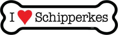 "I Heart (Love) Schipperkes Dog Bone Car Magnet 2"" x 7"" USA Made"