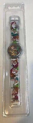 NOS Snow White Disney Lenticular Quartz Watch Wristwatch Clear Jelly Alarm